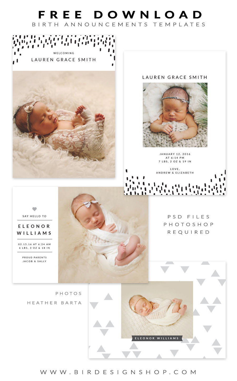 Free birth announcements templates for photoshop for Free online birth announcements templates